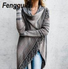 Women Tassel Knitted Sweater Poncho Casual Stripe Irregular Loose Cardigan Cape Coat Tops Autumn Winter geometrical pattern cape loose sweater with taeesl details