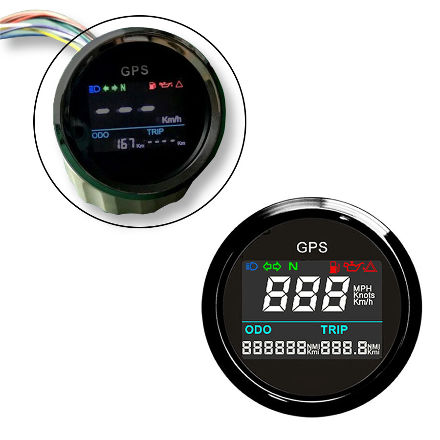 New Arrival 52mm Motorcycle Digital LCD GPS Speedometer Digital Multi-indicators 0~999 Waterproof MPH Knots Km/h