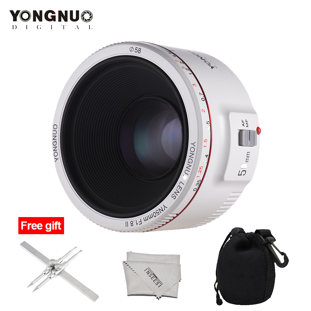 YONGNUO YN50mm F1.8 II Lens Standard Prime Lens Large Aperture Auto Focus Camera Lens for Canon EOS 70D 5D2 5D3 600D DSLR CameraYONGNUO YN50mm F1.8 II Lens Standard Prime Lens Large Aperture Auto Focus Camera Lens for Canon EOS 70D 5D2 5D3 600D DSLR Camera
