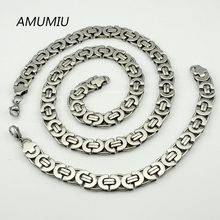 AMUMIU 11mm Width Silver Tone Flat Necklace Bracelet Set High Quality Jewelry Sets 316l Stainless Steel For Men 2pcs HZTZ053