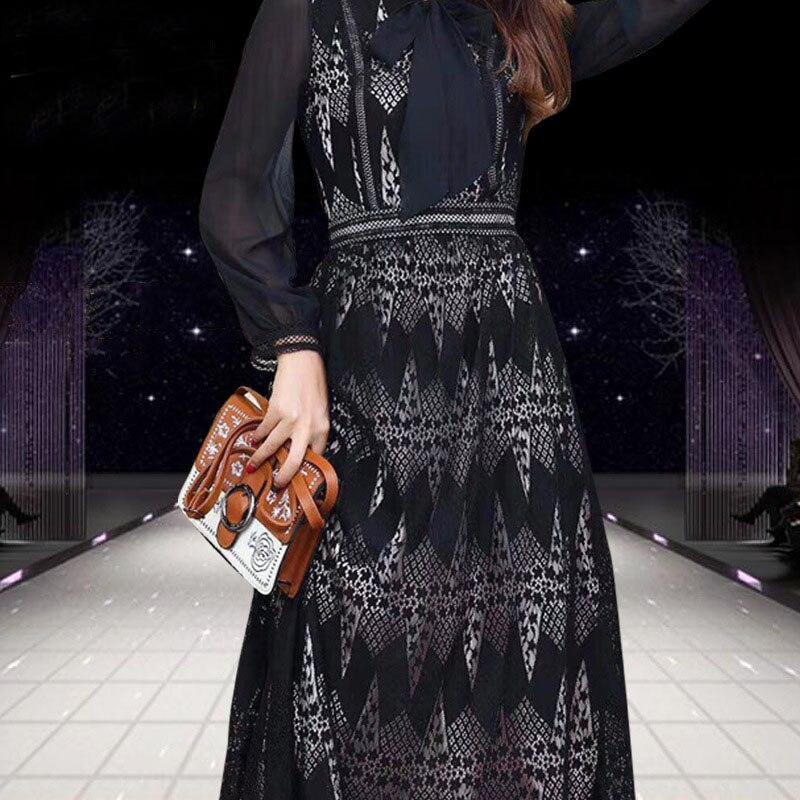 Décontracté Dame Manches Femme Pour Nouvelle Moulante Arc Élégant Noir Dentelle Longues Printemps 2019 K591 longueur ligne Genou A À Mode Robe fqYPxw8