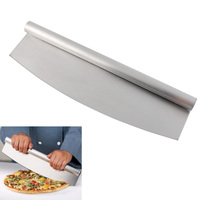 New Stainless Steel Pizza Cutters 14 Professional Camber Shape Pizza Slicer Rocker Knife Kitchen Cooking Accessories