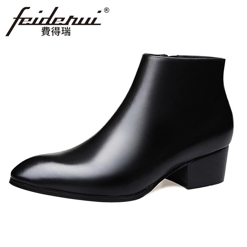 Black Genuine Leather Men's Formal Ankle Boots Pointed Toe High Heels Footwear High-Top Handmade Man Cowboy Martin Shoes HQS277 wool felt cowboy hat stetson black 50cm