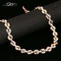 DFN101 Ucha o Złotym Pszenicy Cyrkonia Rose Kolor Złoty Naszyjnik i wisiorki Chokers Hurtownie Biżuteria Dla Kobiet colares joias