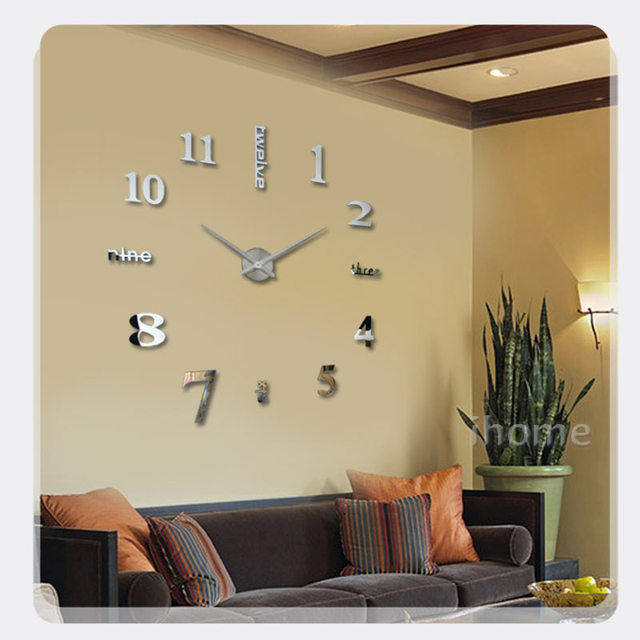 3D Large Sticker Decorative Wall Clocks Living Room Mirror Metal Decorative  DIY Wall Watch Big Numbers Clock Design Home Clocks