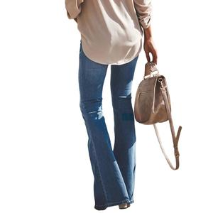 Image 2 - LIBERJOG セクシーな女性ベルボトムパンツジーンズコットン秋冬カジュアル穴ワイド脚フレアデニムパンツ女性のジーンズ