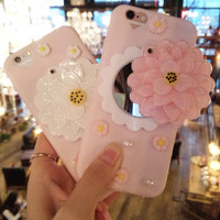 Korea Cute Cartoon Makeup Mirror Soft Thin Silicone Phone Case For Iphone 7 7plus 6 6s