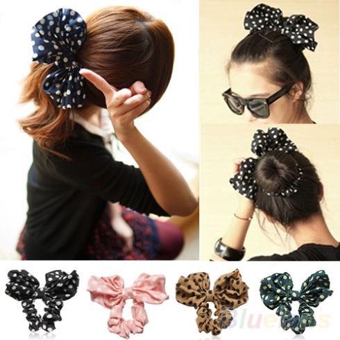 Hot Lovely Big Rabbit Ear Bow Headband Headwear Hair Ribbons Ponytail Holder Hair Tie Band Korean