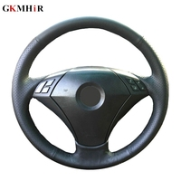 GKMHiR DIY Black Genuine Leather Hand Stitched Car Steering Wheel Cover for BMW 530 523 523li 525 520li 535 545i E60