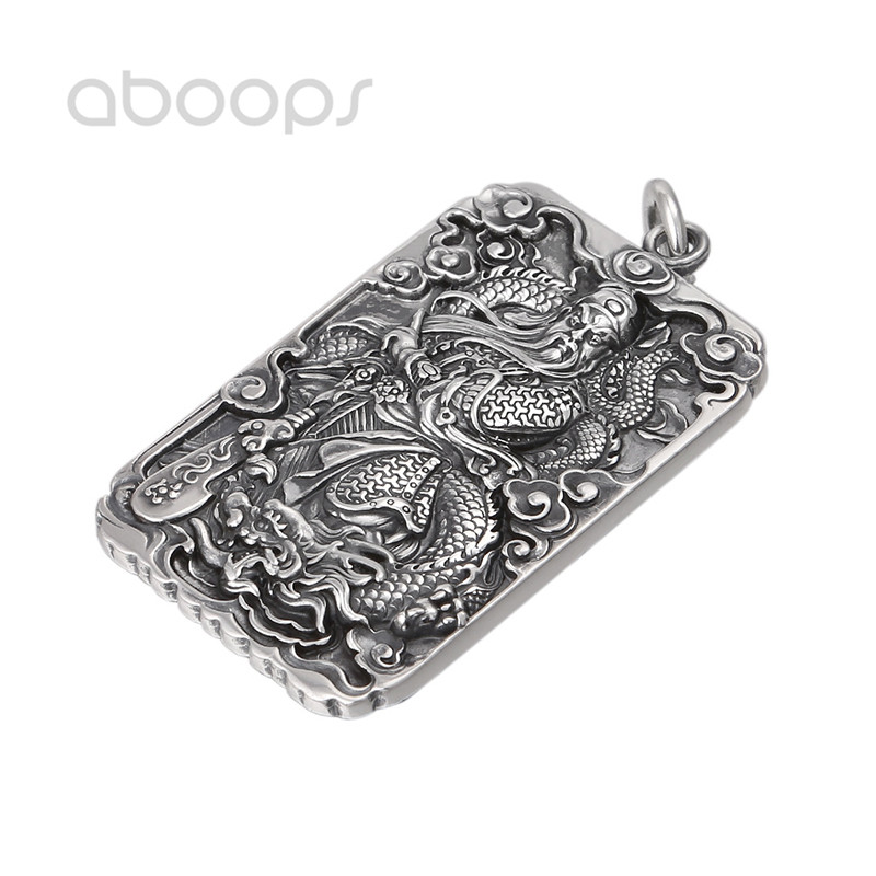 Vintage Black 999 Sterling Silver Chinese Traditional Figure GUAN YU Pendant for Men Boys Free ShippingVintage Black 999 Sterling Silver Chinese Traditional Figure GUAN YU Pendant for Men Boys Free Shipping