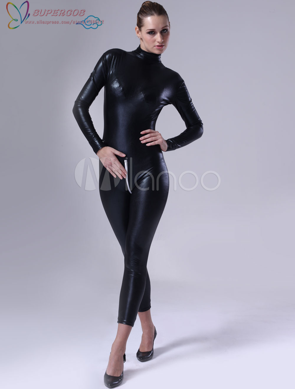 High Quality Halloween Carnival Party Black Women Shiny Metallic Catsuit Zentai Suit
