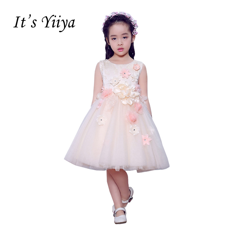 It's YiiYa Sleeveless O-neck Chiffon Zipper   Flowers   Appliques Ball Gown Knee-length Princess   Flower     Girls     Dress   Communion TS213