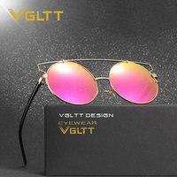 VGLTT Cat Eye Women Brand Designer Mirror Metal Frame Sunglasses Rose Gold Shades UV400 Sun Glasses Female High quality Round