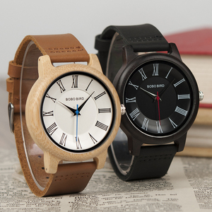 Image 2 - BOBO BIRD Q15 montre classique en cuir bois Couples montres à Quartz pour les amoureux reloj pareja hombre y mujer