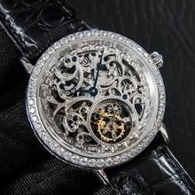 موضة الرجال الهيكل العظمي توربيون الساعات الياقوت الماس الهاتفي رجل ساعة ساعة ميكانيكية الرجال 50ATM مقاوم للماء Reloj دي Hombre