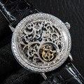 Relojes Tourbillon Esqueleto De Hombre De moda relojes zafiro diamante Dial Hombre Reloj mecánico hombres 50ATM Reloj De Hombre resistente al agua