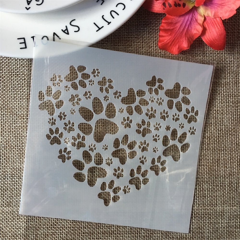 "5"" Paw Heart Love DIY Layering Stencils Wall Painting Scrapbook Coloring Embossing Album Decorative Paper Card Template"