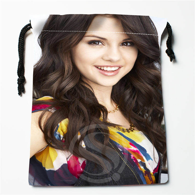 T&w123 New Selena Gomez &l Custom Printed  Receive Bag Compression Type Drawstring Bags Size 18X22cm F725&T123rt