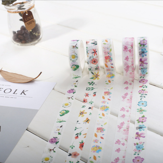 1 5 Cm Wide Flowers Fan Paper Washi Tape Adhesive Tape Diy