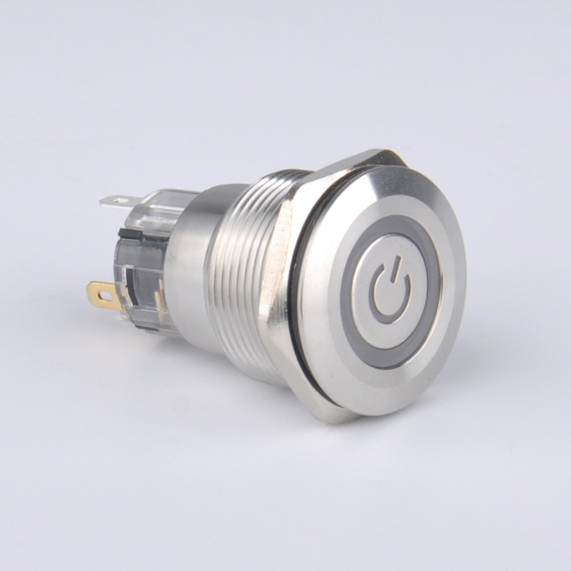 5pcs metal stainless steel pushbutton switch with housing socket latching & momentary function ring power led indicate free ship