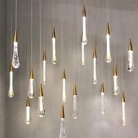 Crystal Stallcase wisiorek światła długi kabel lampy wiszące prosty wisiorek lampa dla restauracja/bar kryty oświetlenie dekoracyjne w Wiszące lampki od Lampy i oświetlenie na