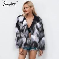 Simplee Cinza mistura de cores do falso casaco de pele das mulheres quente Fofo fêmea outerwear 2017 casaco de inverno jaqueta de manga longa casaco peludo