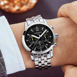 Image 5 - Erkek kol saatiGUANQIN 2019 men watch business Quartz watch Waterproof clock men watch top brand luxury Chronograph Wrist Watch