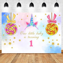 Unicorn 1th Birthday Backdrop Gold Little Star Lollipop Photography Background Party Dessert Table Decorations Props