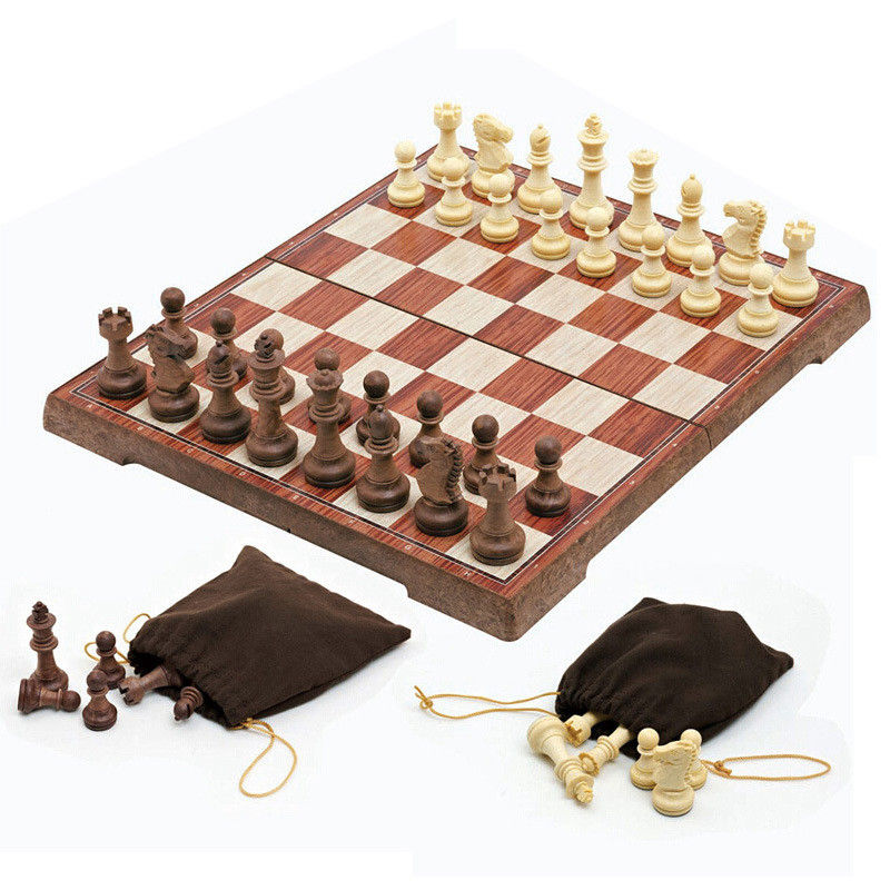 High-grade chess Wooden WPC Chess Folded Board International magnetic Chess Set Exquisite Chess Puzzle Games Board Game 21 inch 53cm jumbo wooden chess box folding portable chess board standard international chess games toy