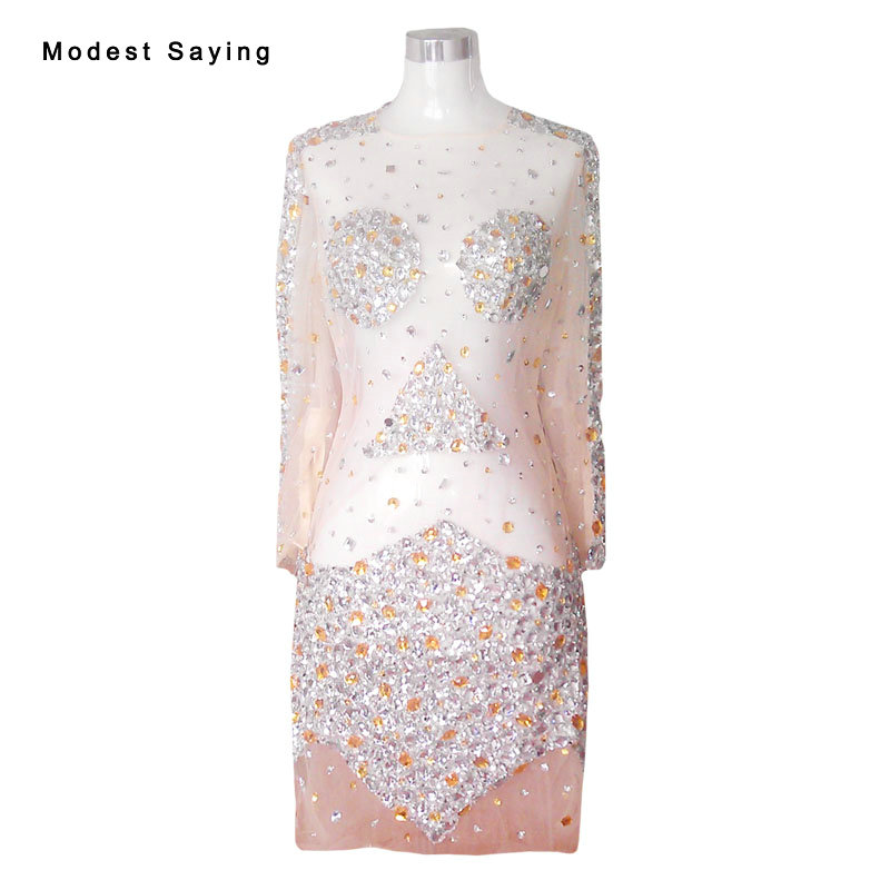 Sexy See Through Champagne Straight Beaded Crystal Long Sleeve Cocktail Dresses 2017 with Rhinestone Short Party Prom Gowns YC51