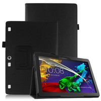 Tempered Glass Screen Protector Film PU Leather Stand Cover Case For Lenovo Tab2 Tab 2 A10