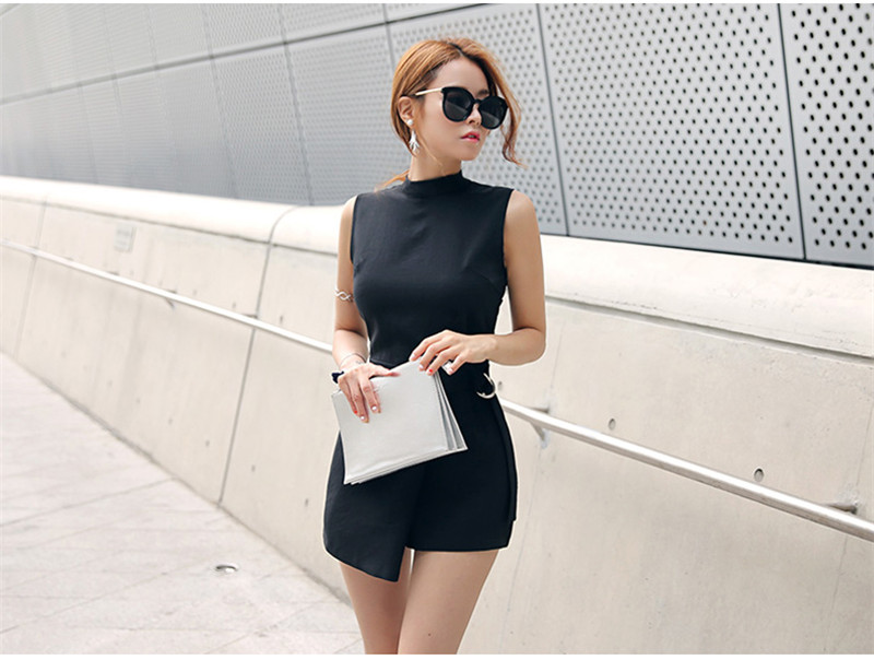 d9a5cf0a5 Elegant Belted Waist Playsuits Women's Shorts Strand Collar Wrapped ...