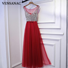 VENSANAC 2018 O Neck Luxury Crystals Long A Line Evening Dresses Lace Elegant Sequined Bow Sash Party Prom Gowns