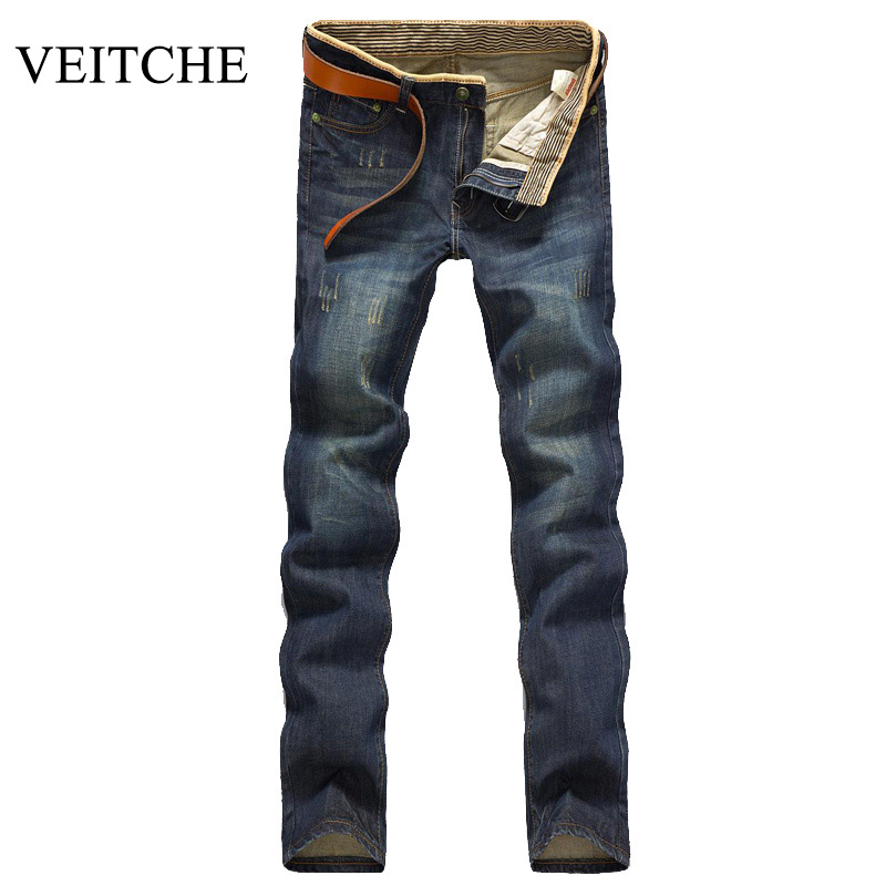 VEITCHE Brand New 2017 Summer Men Jeans straight Pants Retro Scratched Denim Jeans high quality cotton 28 to 38 for Pants Denim