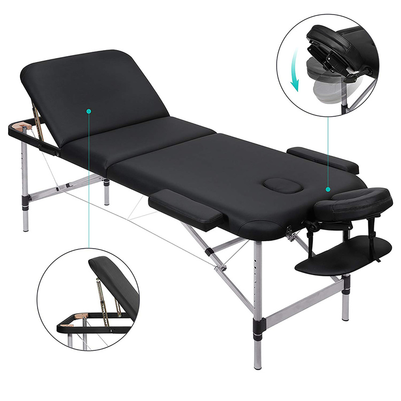 190*70CM 3 Folding Massage Table Professional Portable Spa Massage Bed Foldable with Bag Aluminum Feet HWC190*70CM 3 Folding Massage Table Professional Portable Spa Massage Bed Foldable with Bag Aluminum Feet HWC