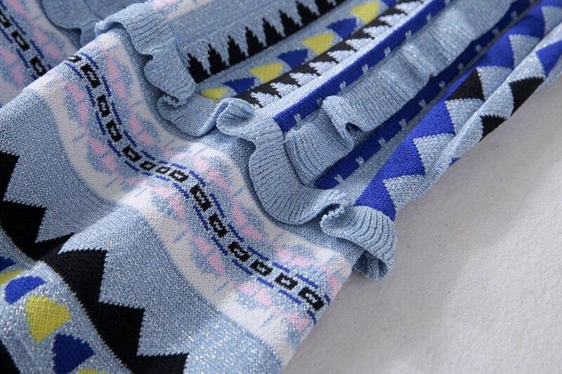 Motif ligne Cou Mode Tricoter O pink De Z890 Light Femmes 2019 Nouveau Blue Courtes À Robes Géométrique Parti Décontracté Printemps Volants A 6fwq6Av0