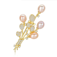 B010 Wedding s925 Sterling Silver Jewelry Vivid Zirconia Orchid Flower Brooches Pearl Centered Paved CZ Stone Bridal Pin Jewelry