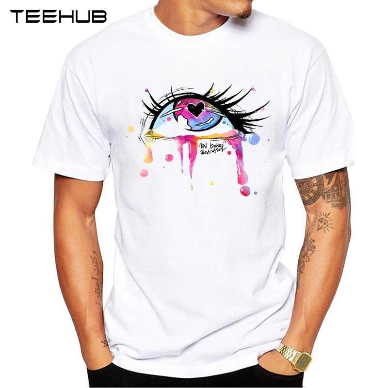 2019 TEEHUB Мужская мода глаза и губы печатных короткий рукав Футболка хипстер o-образным вырезом дизайн топы Прохладный дизайн Tee