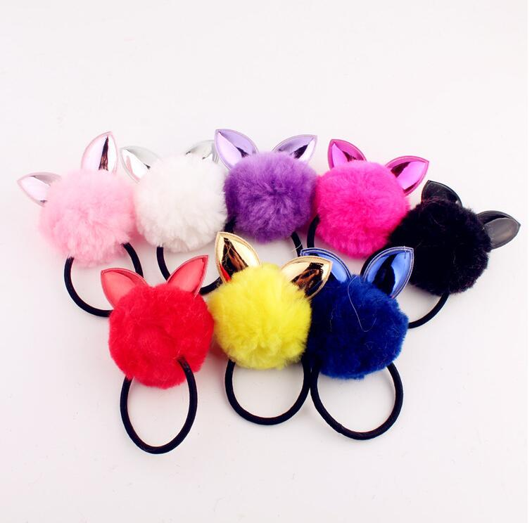 2017 New Winter Hot Sale Girl Hair Accessories PU Rabbit Ear Ball Hair Band Of Fur Hair Rope Gum Big Girl Rubber Bands For Women hot sale open front geometry pattern batwing winter loose cloak coat poncho cape for women