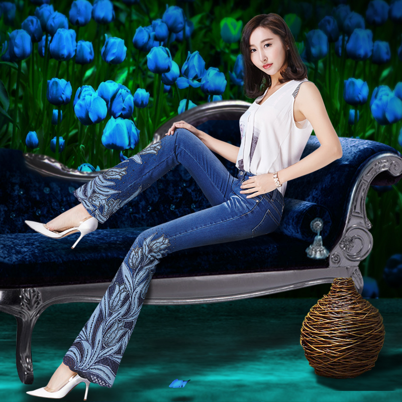 Spring Women Luxury Tulips Beading Embroidered Flared Jeans Female Boot Cut Embroidery Lace Bell Bottom Jeans Denim Trousers
