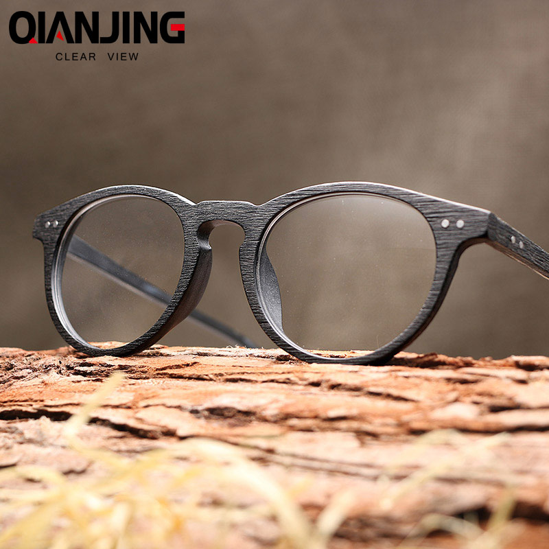 QianJing Mens Eyeglasses Frames Wooden Retro Round Glasses Frame for Women Wood Eyewear Optical Plain Glasses With Clear Lens