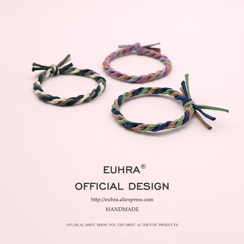 EUHRA 11 Colors Elastic Hair Bands Tassel Twisted Bow knot Colourful High Elasticity Woman Girls Hair Band Children Rubber Band in Women 39 s Hair Accessories from Apparel Accessories