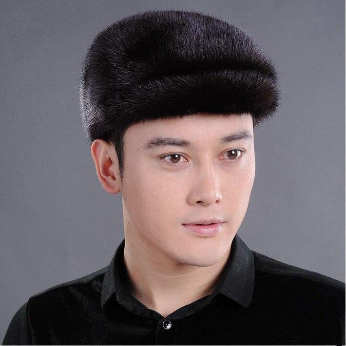 Hommes vison fourrure chapeau hommes véritable vison fourrure Cap hiver pull à capuche chapeau chapeaux bonnet béret gavroche casquette