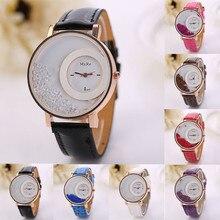 relojes mujer 2016 top brand luxury PU Leather Quick Rhinestone Clock Women Quartz Watch womens Wristwatch