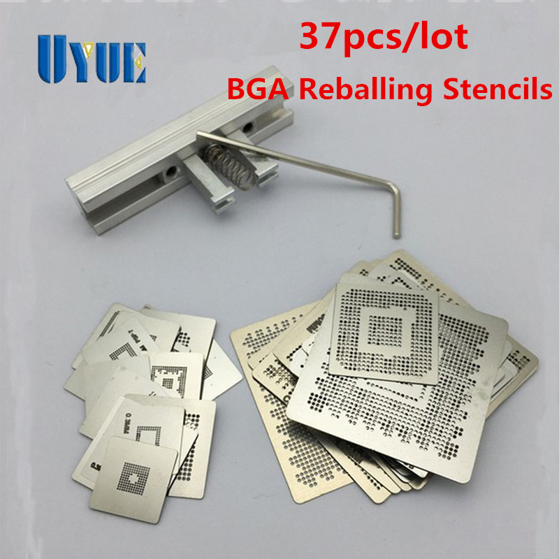 2017 New 37pcs/lot Heat Directly Rework Reball Stencils Template + BGA Reballing Kit Station For XBOX360 PS3 Game Repair game console stencils 90mm 90mm for ps3 and xbox360 with reballing station