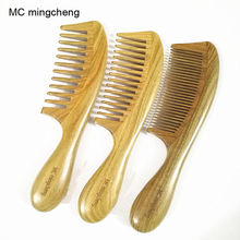 Купить с кэшбэком MC 1-26A Thick Handle Green sandalwood Comb Hair Health Care Massage Makeup Brushes Professional Brush High Quality Wooden Comb