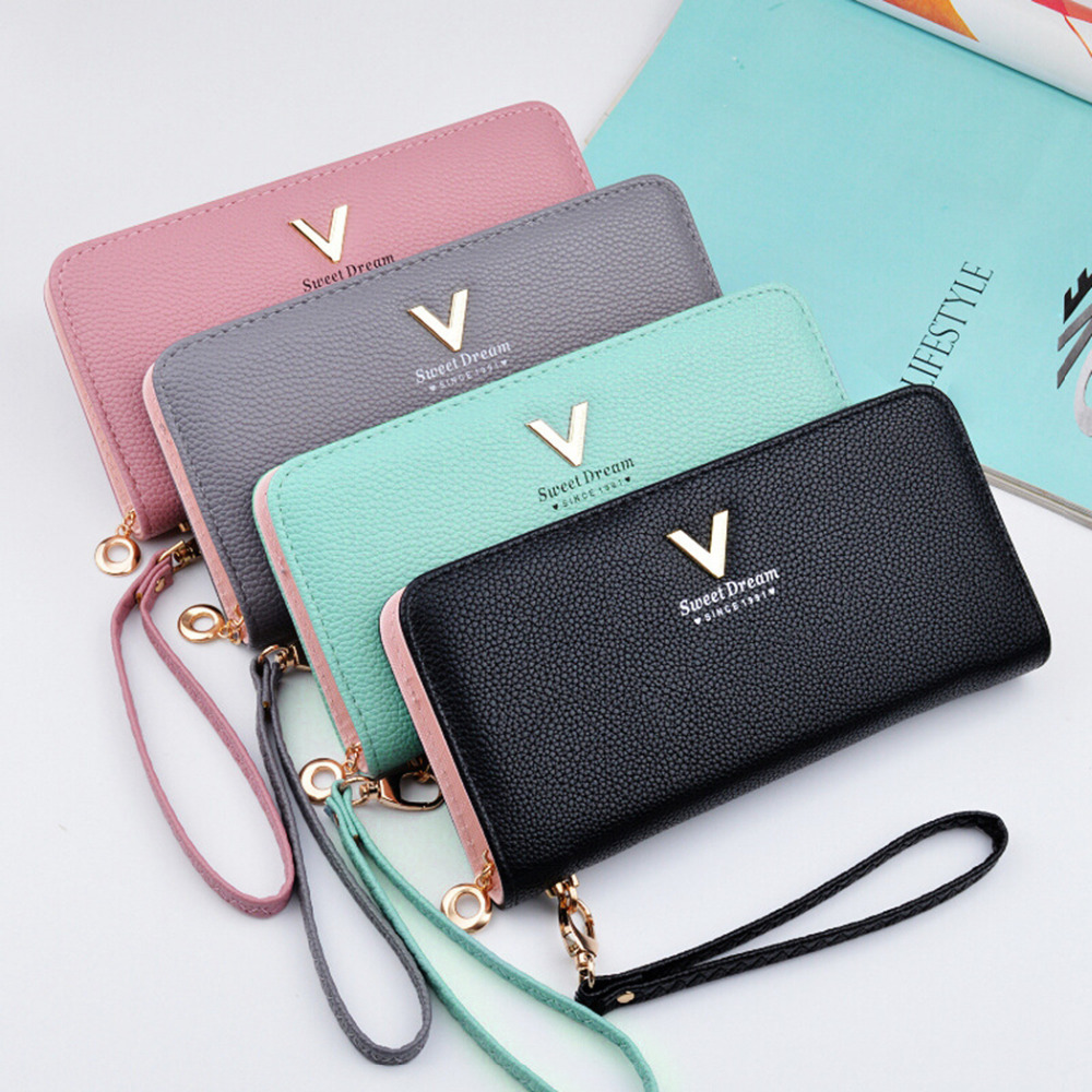 New Ladies Purses Female Leather Wallets Women Long Zipper Purse Woman Wallet Card Holder Clutch femme High Quality Brand hot flower girl dress white a line bow sash sleeveless solid o neck girls first communion dress hot sale vestido de comunion