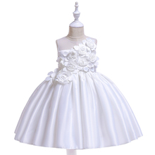 2019 Hot Sale Dress For Girls Lace Cute Princess Birthday Party Ball Gown Sleeveless Solid Children Dress Casual Costume Kids цена 2017