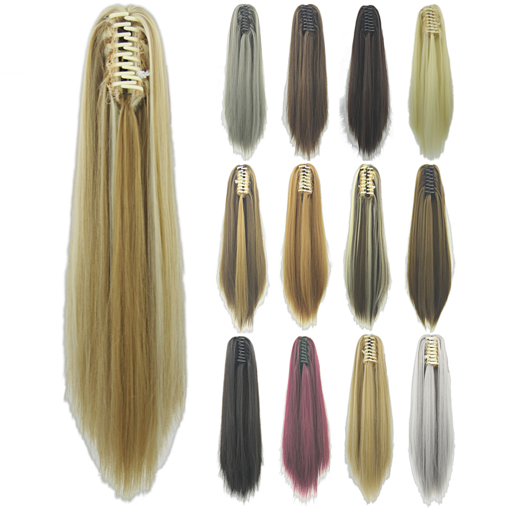 Soowee Straight Long Clip In Hair Extensions Blonde Black Little Pony Tail High Temperature Fiber Synthetic Hair Claw Ponytails