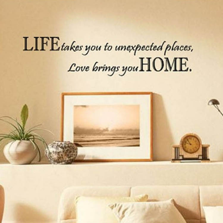 Home Decor Art Removable Vinyl Wall Sticker Life Takes You Unexpected Places Love Brings You Home